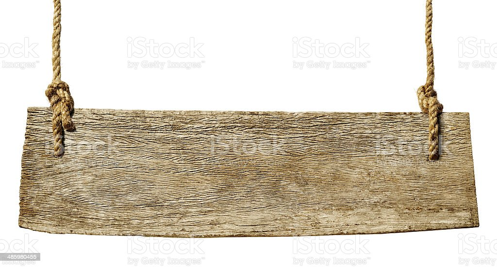 Wooden sign hung from rope stock photo