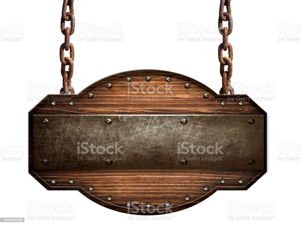 Wooden sign in a dark wood with iron strap and bolts hanging on chain isolated on white background stock photo
