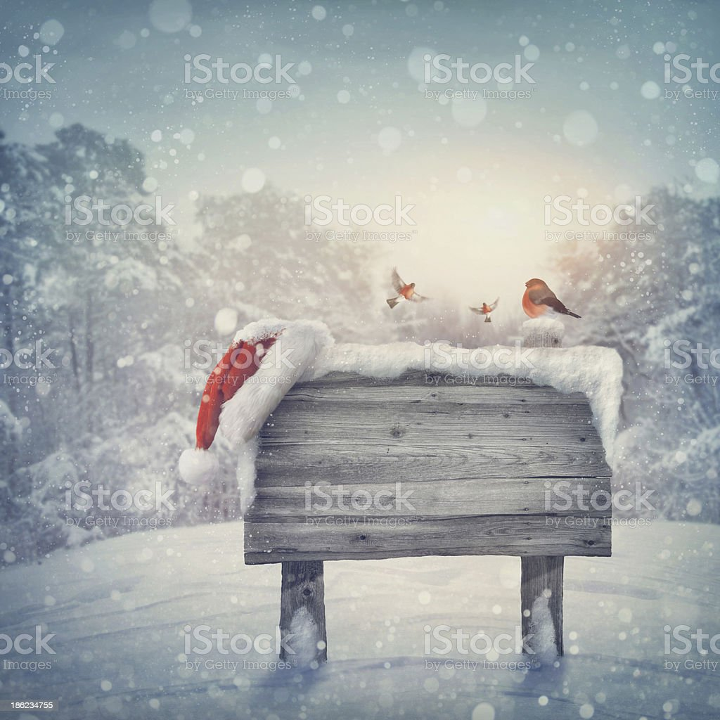 Wooden sign in winter forest stock photo