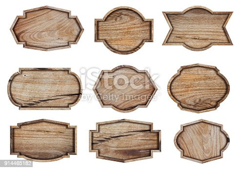 914465180istockphoto Wooden sign isolated on white background, With objects clipping path for design work 914465182