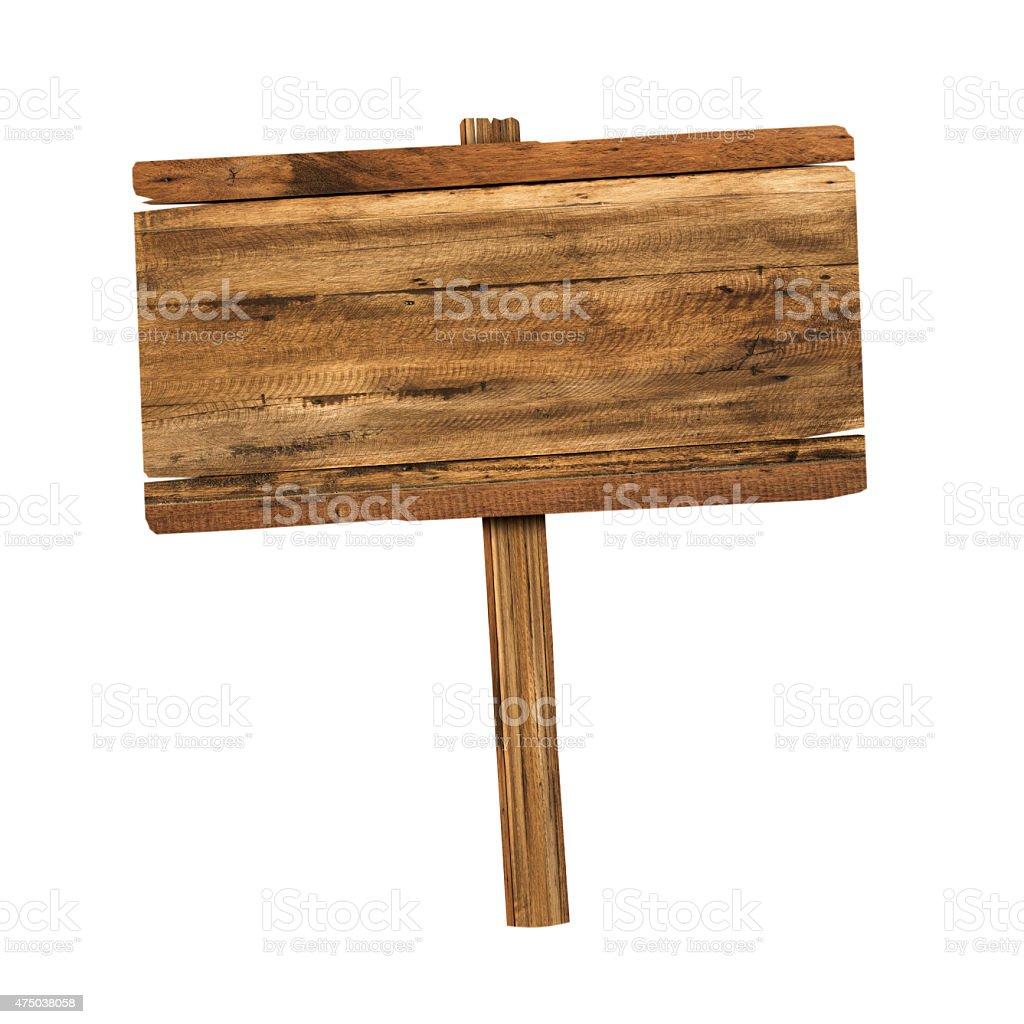 Wooden sign isolated on white bildbanksfoto