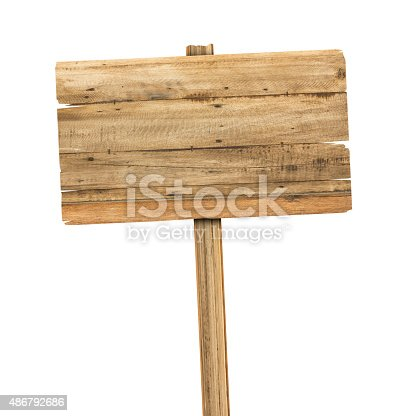 istock Wooden sign isolated on white. 486792686