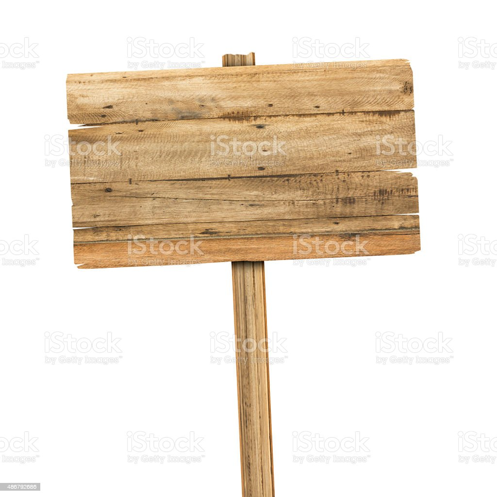 Wooden sign isolated on white. stock photo