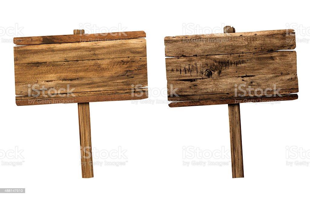 木製看板白で分離。 ストックフォト