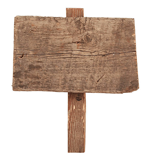 Wooden sign isolated on white. Wood old planks sign. stock photo