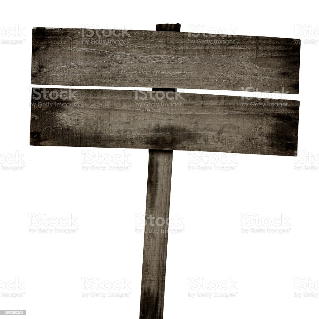 Wooden sign isolated on white. Wood old planks sign. royalty-free stock photo