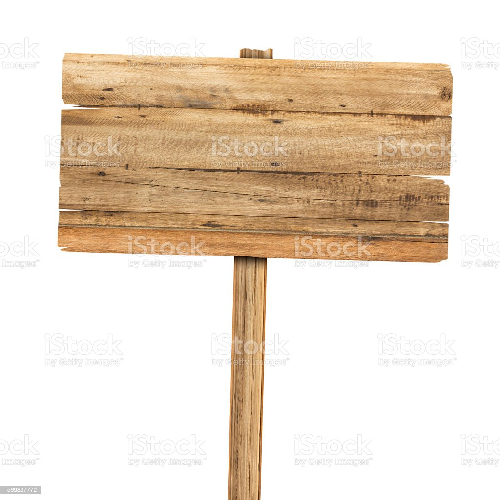 Wooden sign isolated on white. Wood old planks sign bildbanksfoto