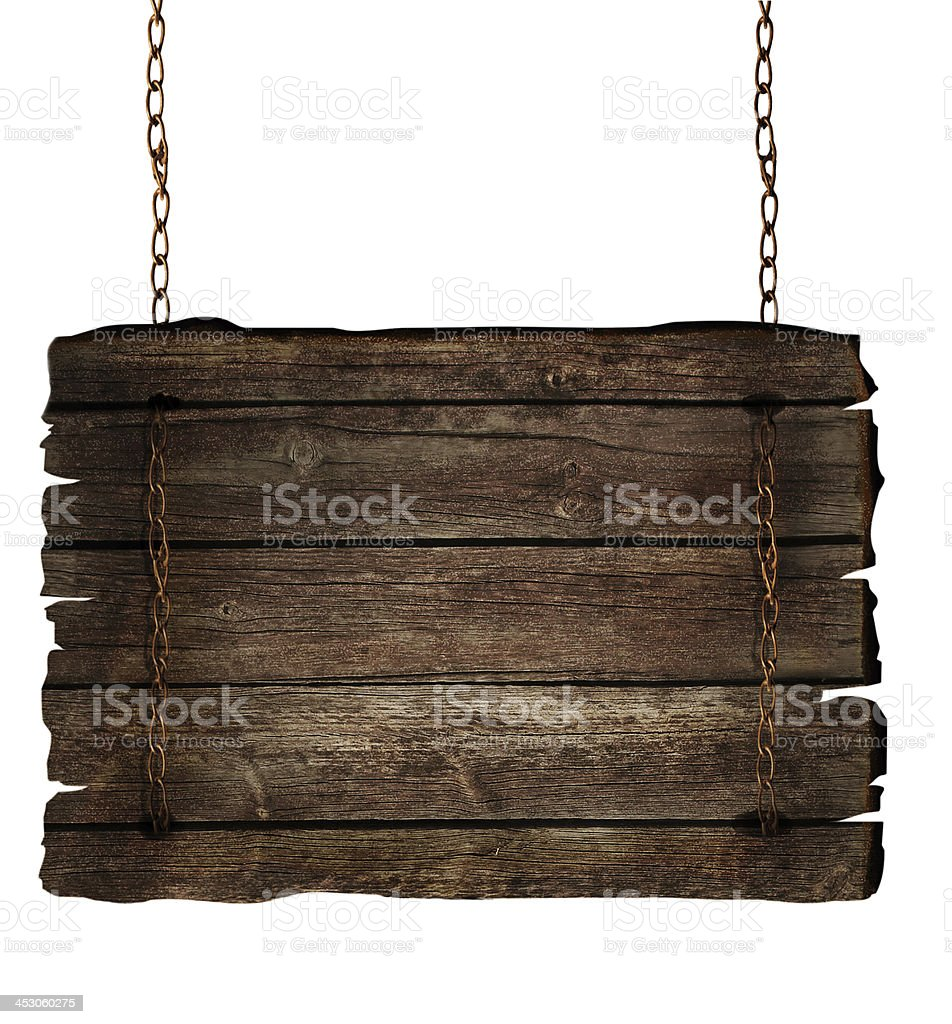 Wooden sign on chains stock photo