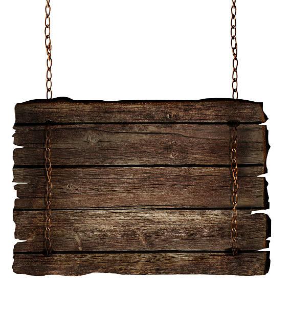 Panneau en bois sur les chaînes - Photo