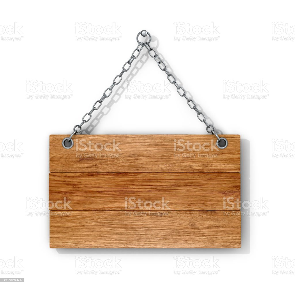Wooden sign on the chains. 3D illustration. stock photo