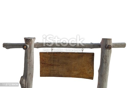 istock Wooden sign  on white background. (clipping path) 1137028939