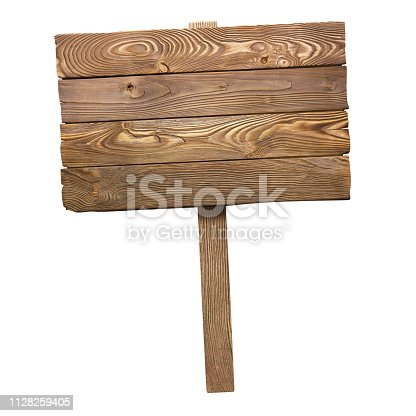 istock Wooden sign on white 1128259405