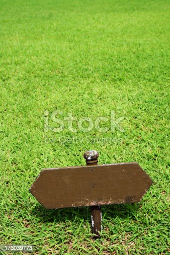 Wooden blank signage on the lawn.