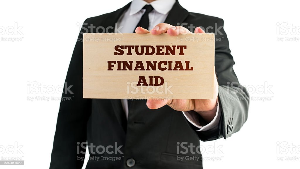 Wooden sign saying Student financial aid stock photo