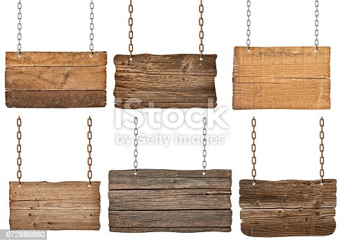 istock wooden sign with chain hanging background message 672986860