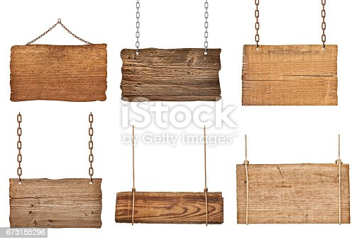 istock wooden sign with chain hanging background message 673155296