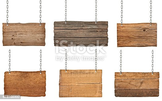 istock wooden sign with chain hanging background message 673166332