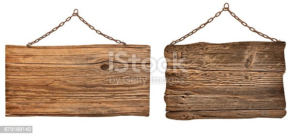 istock wooden sign with chain hanging background message 673169140