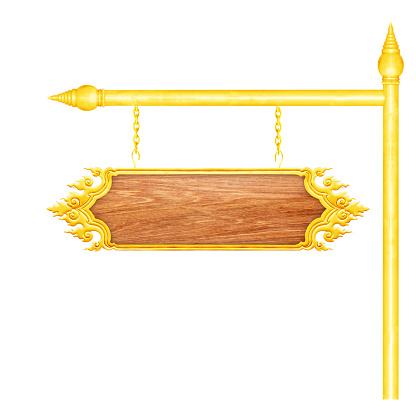 Houten Bord Met Gouden Frame Opknoping Op Een Keten Geïsoleerd Op Witte Achtergrond Stockfoto en meer beelden van Advies