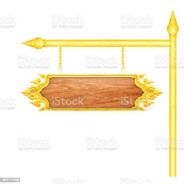 Wooden Sign With Gold Frame Hanging On A Chain Isolated On White Background Stock Photo - Download Image Now