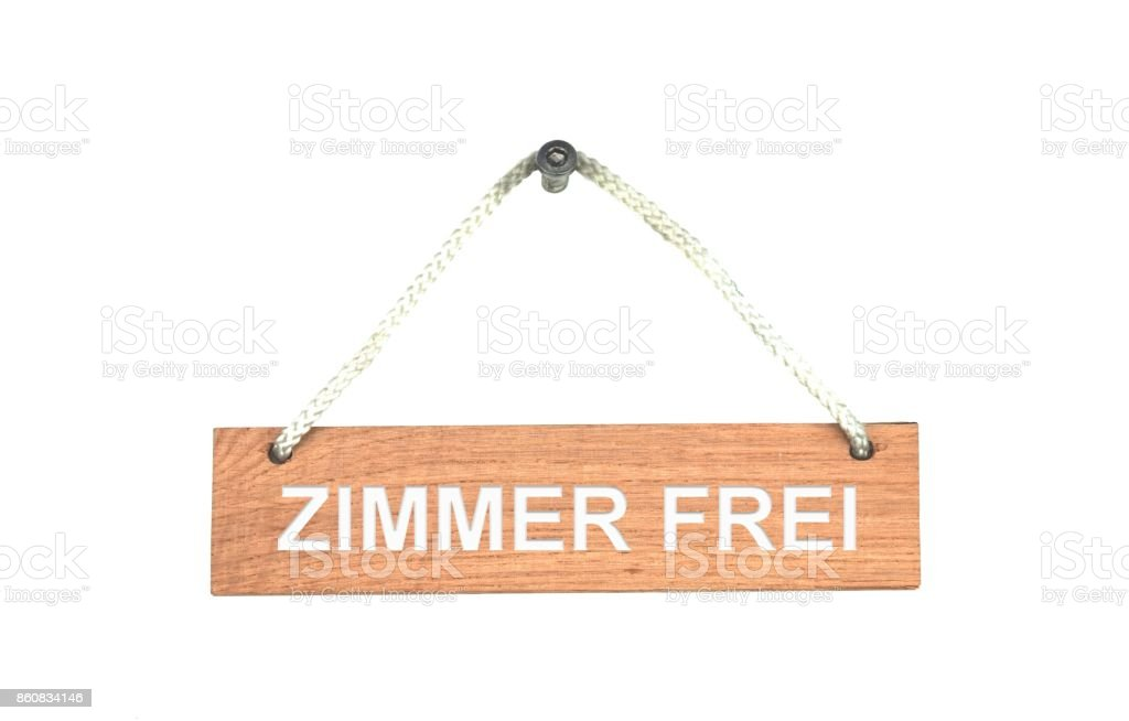 Wooden sign with rope: Room Available german stock photo