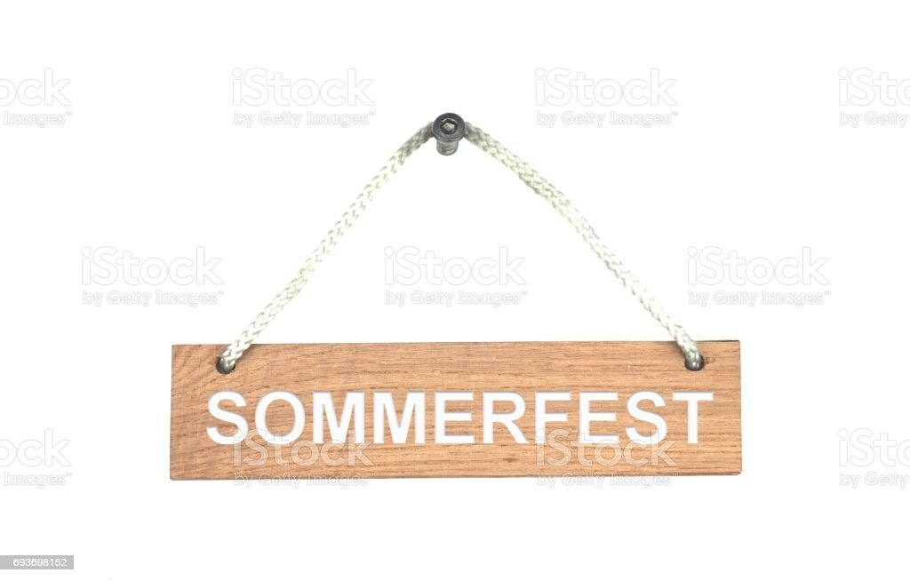 Wooden sign with rope: Summer Fair german stock photo