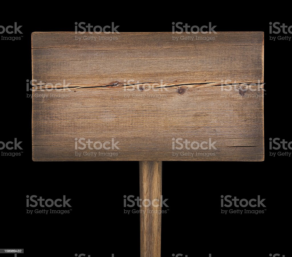 Wooden signboard  isolated on black background royalty-free stock photo