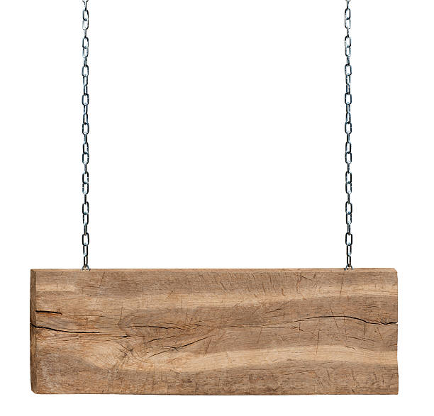 wooden signboard - chain object stock photos and pictures