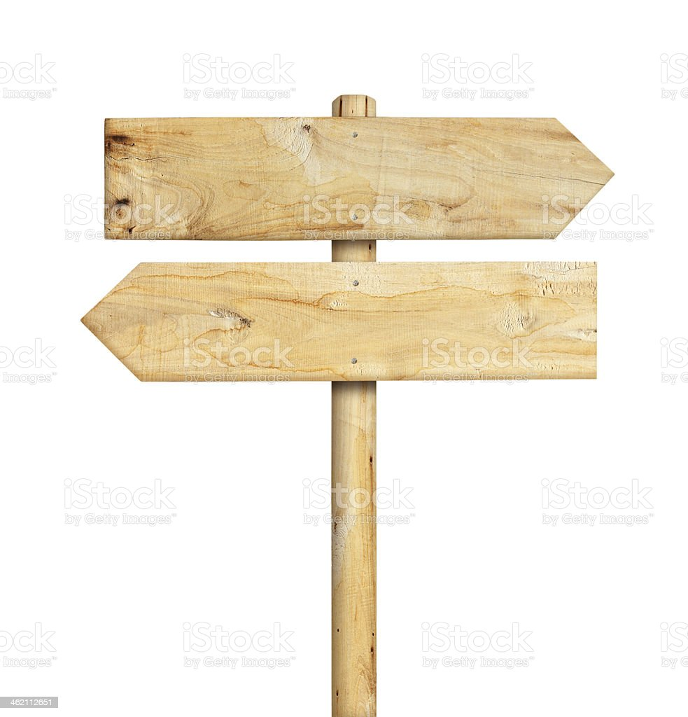 2 wooden signboards on a wooden pole, in opposite directions stock photo