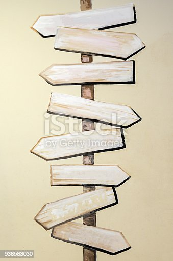 954712506istockphoto Wooden signboards, wood arrow sign 938583030