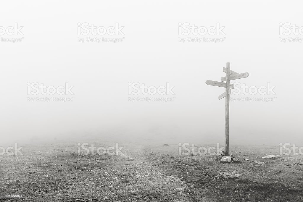 wooden signpost in the fog stock photo