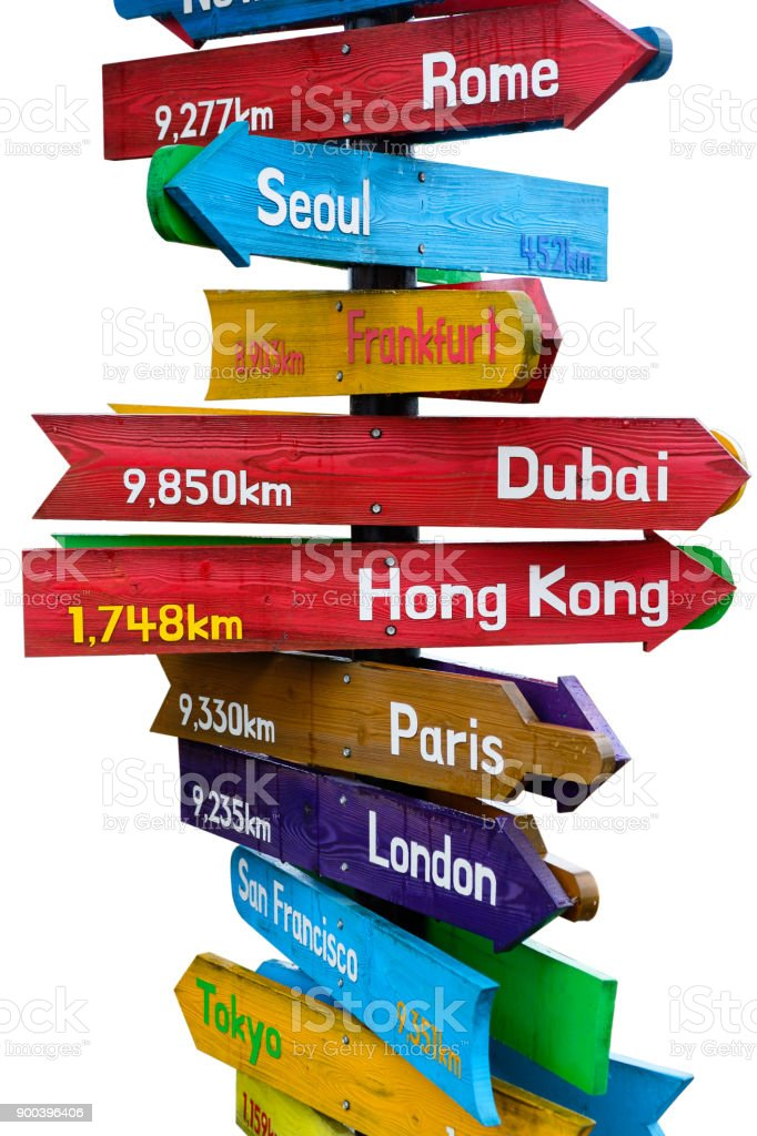 Wegweiser aus Holz zeigt Richtungen der neun Kontinente auf weißem Hintergrund – Foto