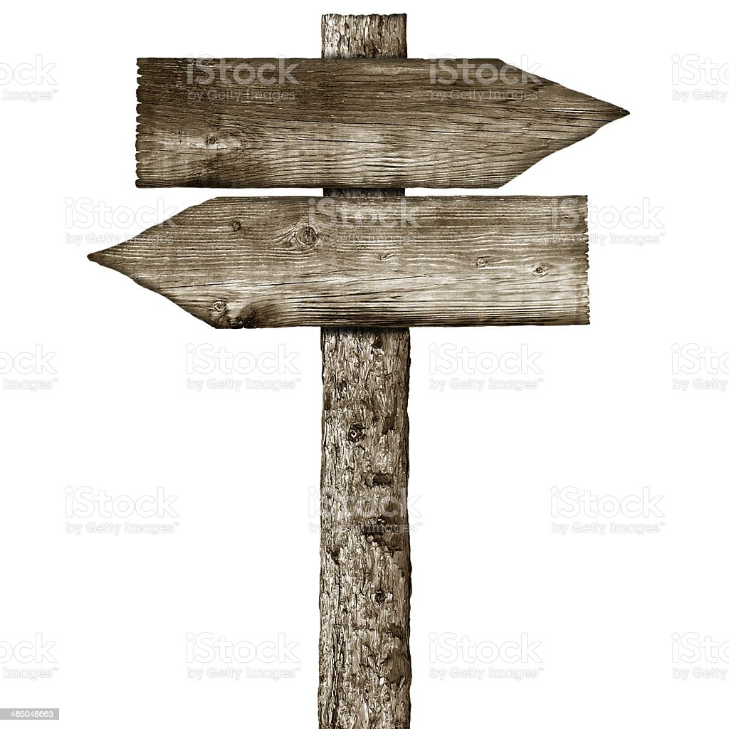 wooden signpost isolated on a white background stock photo