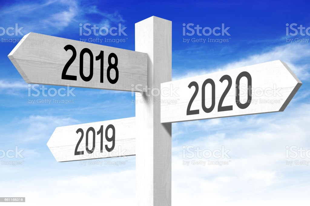 2018, 2019, 2020 - wooden signpost stock photo
