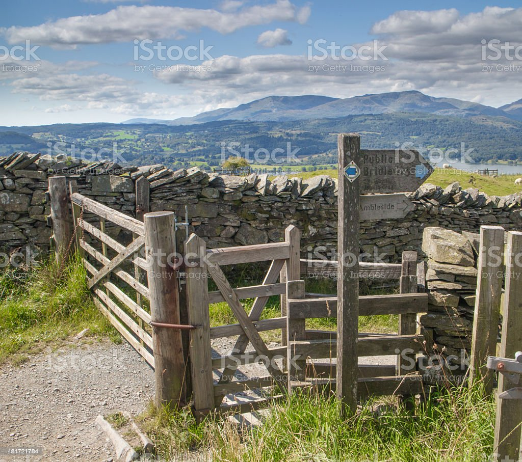 Wooden signpost showing the way to the town of Ambleside stock photo