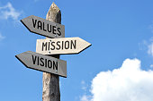 istock Wooden signpost - values, mission, vision 520289888