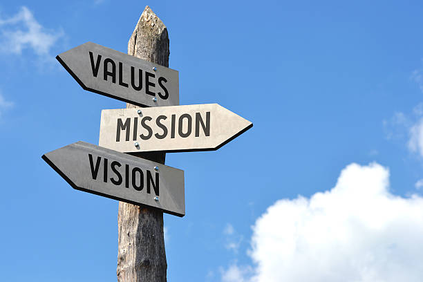 wooden signpost - values, mission, vision - cultures stock pictures, royalty-free photos & images