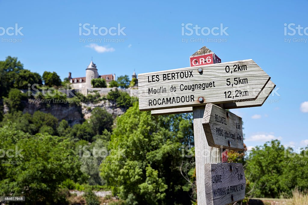 Wooden signposts for hikers and travellers in the Dordogne stock photo
