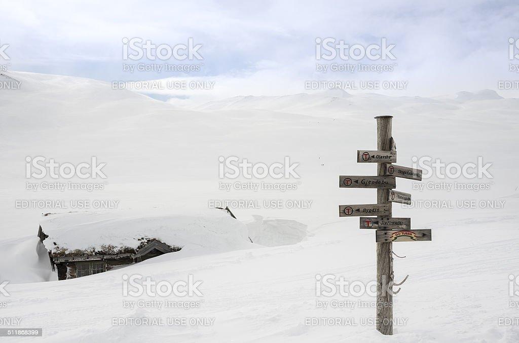 Wooden signs at Fondsbu Mountain Resort in Jotunheimen stock photo