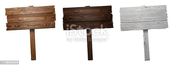 Set of wooden signs, isolated on white background