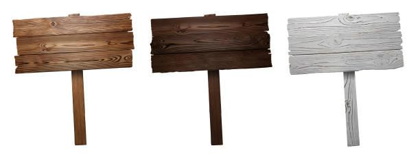 木標誌在白色 - 標誌 個照片及圖片檔