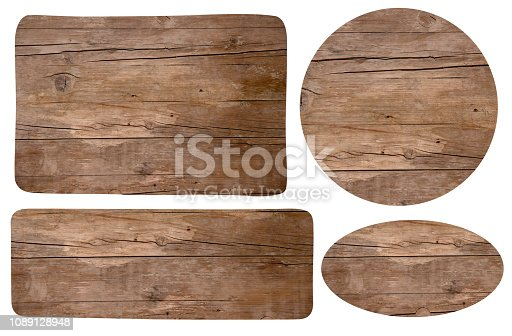 Set of the wooden rustic signes on white background