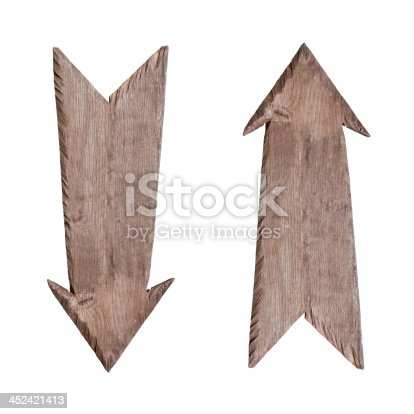 istock Wooden signs up and down 452421413