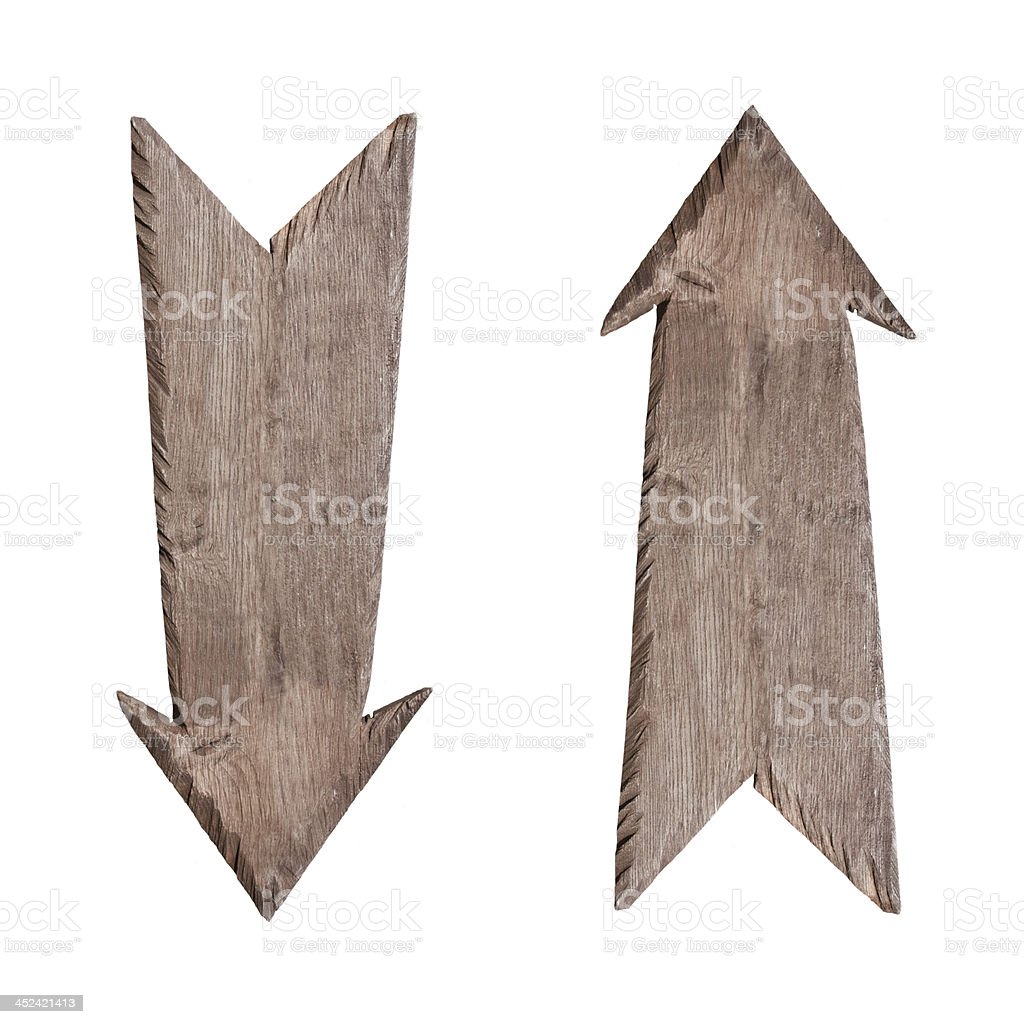 Wooden signs up and down stock photo