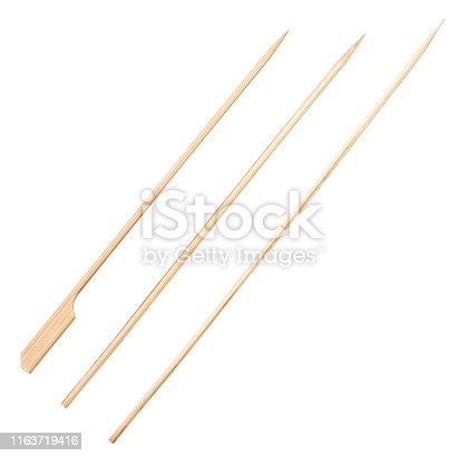Wooden skewers isolated on white background