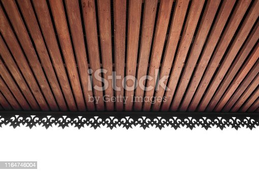 Wooden slat ceiling with exposed beams,wooden ceiling roof,lanna Thailand architecture style