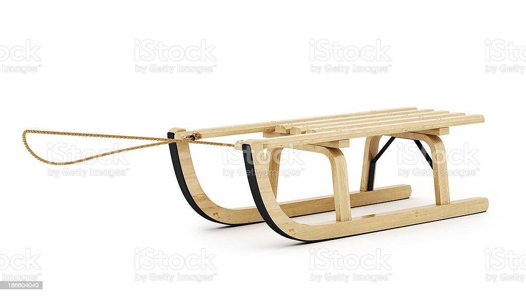 wooden sled stock photo