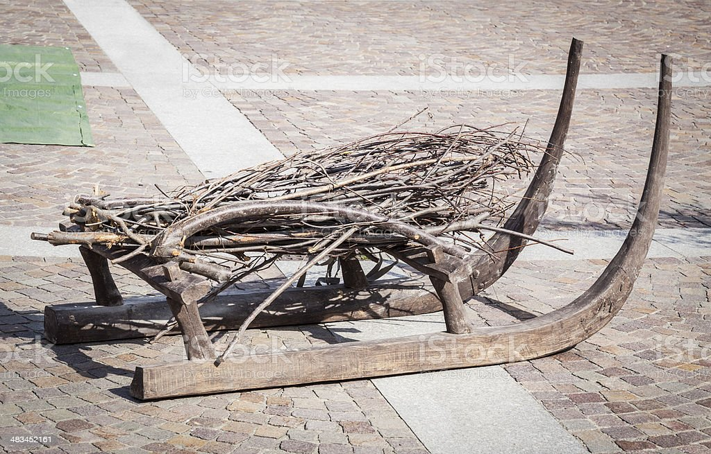 Wooden Sleigh With Firewood royalty-free stock photo