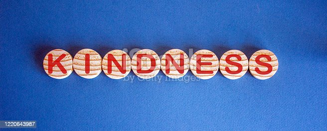 843963182 istock photo Wooden small circles with word kindness on blue background. Concept image. 1220643987