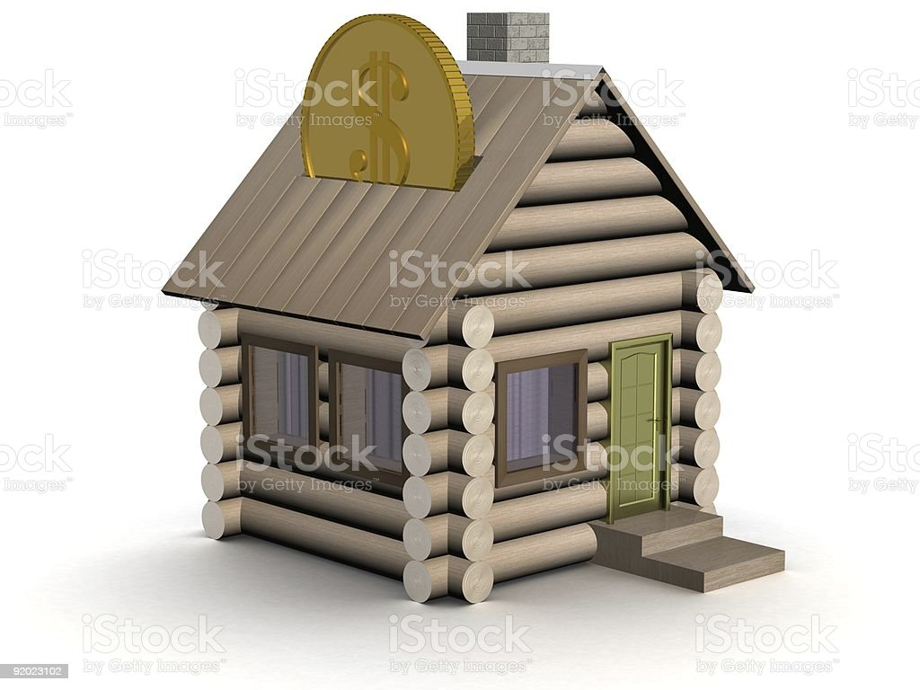 Wooden small house a coin box. 3D image. royalty-free stock photo